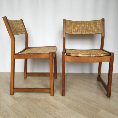 Pair of Danish Oak Chairs by Søborg Møbelfabrik with Wicker Seats, 1950s