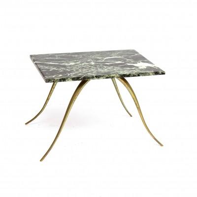 Brass side table with green marble top, 1960s