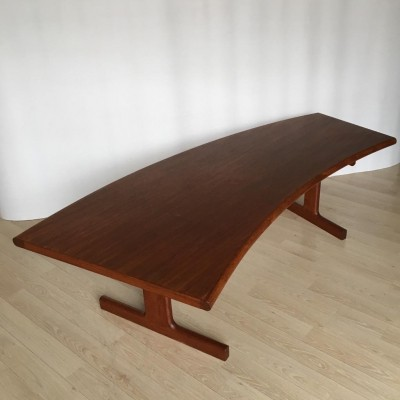 Mid-Century Danish Teak Coffee Table with Curved Desk, 1950s