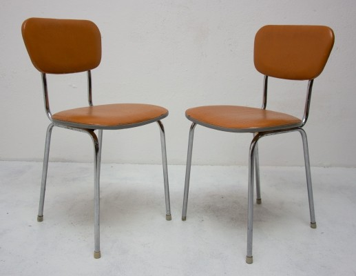 Pair of mid century chromed dining chairs, 1960s