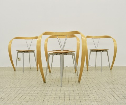 4 Cassina 'revers' dinner chairs by Andrea Branzi