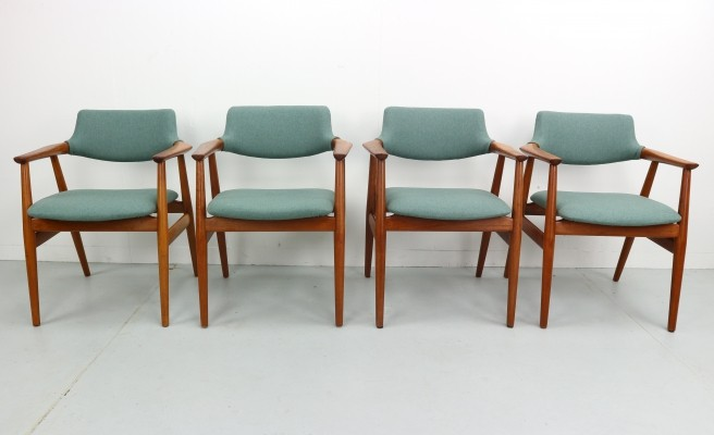 Set of 4 Danish Modern Teak Armchairs by Svend Aage Eriksen, 1960s