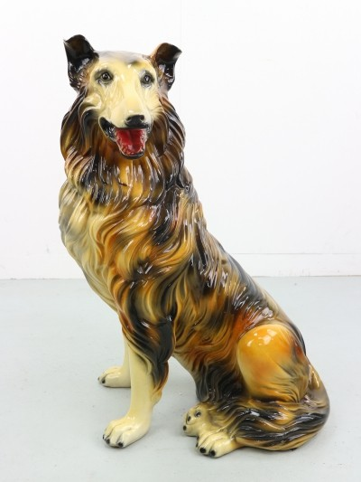 Vintage Hand painted Porcelain Ceramic Collie Dog Statue, 1970s
