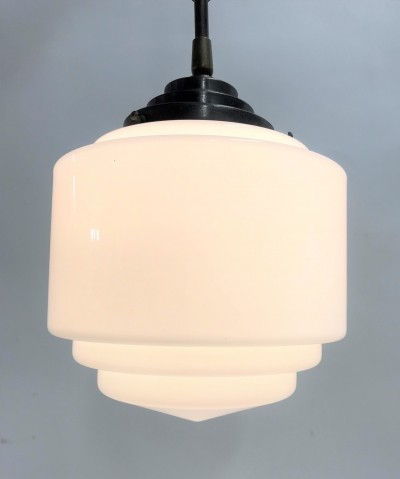 Art deco stepped opaline pendant light, 1930s