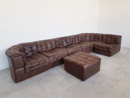 De Sede DS11 6-piece brown leather sectional with ottoman, 1970s