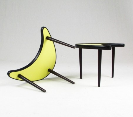 Pair of yellow side tables, France 1960s