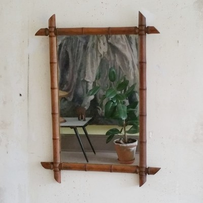 Vintage French Wooden Faux Bamboo Mirror