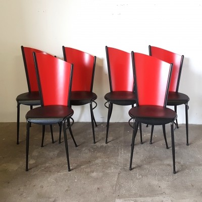 Memphis style black & red dining chairs, 1980s