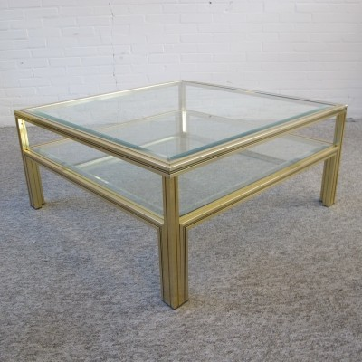 Two tiers brass glass coffee table by Pierre Vandel, 1970s