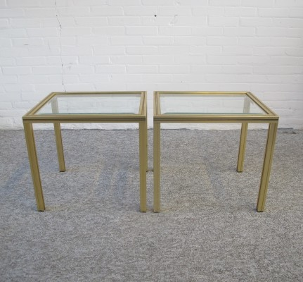 Pair of brass glass side tables by Pierre Vandel, 1970s