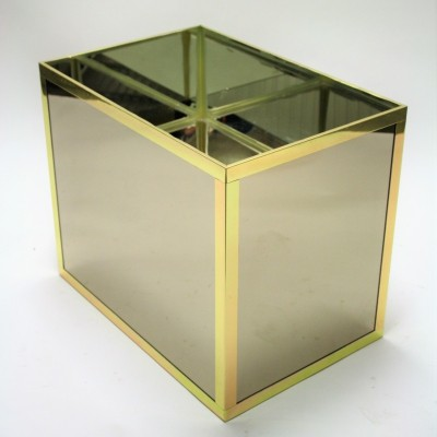 Vintage mirrored & brass planter, 1970s