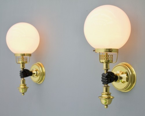 Pair of Solid Brass & Glass Wall Lights by Vereinigte Werkstaette Munich, 1970s
