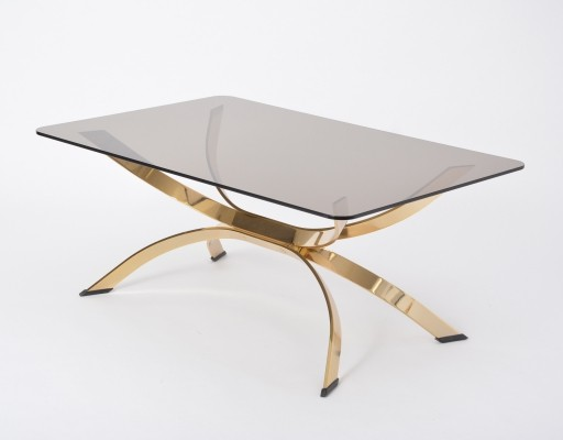 Vintage Rectangular Coffee Table with Smoked Glass Top