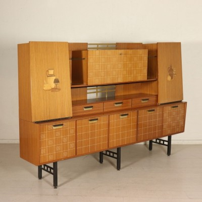 Cupboard in Teak Veneer & Brass, Italy 1960s