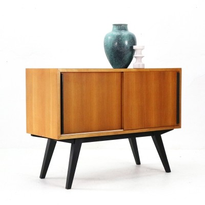 Small '50s Ashwood Chest with Sliding Doors