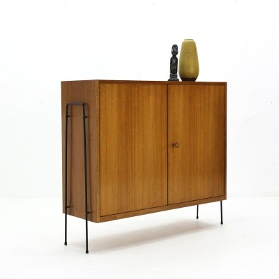 Two-doored Walnut Cabinet with slim Metal Base, 1950s