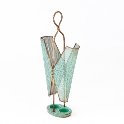 Italian Brass & Sage Green Umbrella Holder, 1950s