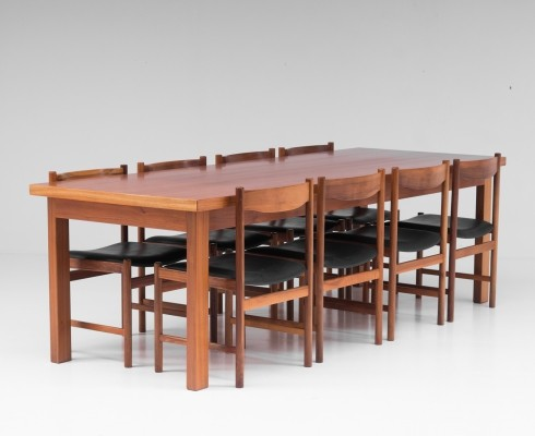Dining room set in cherrywood with 8 chairs, Belgium 1970's