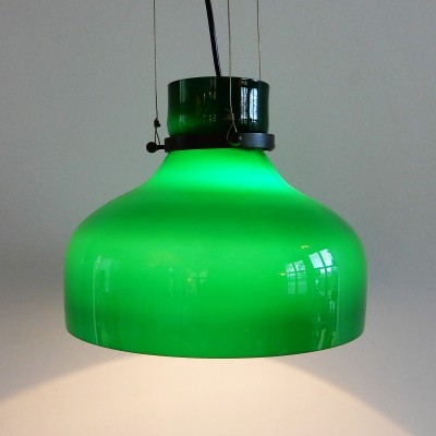 Vintage green colored glass pendant lamp, 60's/70's