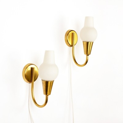 Vintage set of two Danish brass & opal glass wall lamps, 1960's