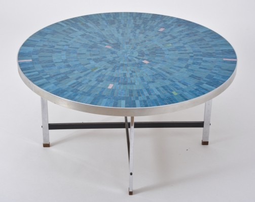 Blue Circular Mosaic Coffee Table by Berthold Müller Oerlinghausen