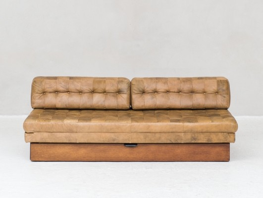 Futon with leather patchwork sofa / daybed