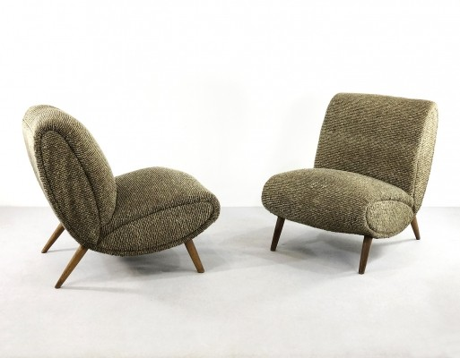 Norman Bel Geddes armchairs in birch wood & original wool fabric