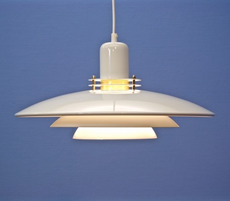Danish pendant in white with brass accent, 1970s