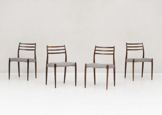 Set of 4 'model 78' dining chairs by Niels Otto Moller, Denmark 1950s