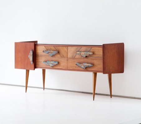 Rare Italian Mahogany & Teak Sideboard with Chest of Drawers, 1950s