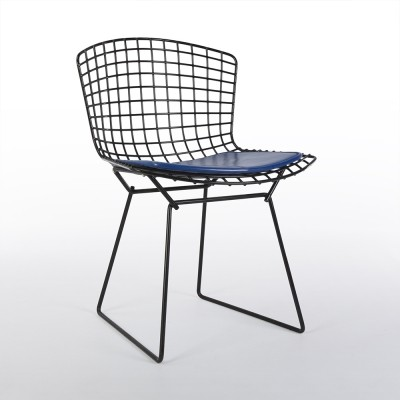 Original Knoll Black Harry Bertoia Wire Side Chair With Blue Cushion