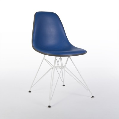 Blue Vinyl Herman Miller Original Vintage Eames DSW Side Shell Chair