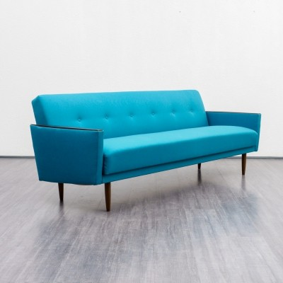 1960s petrol blue sofa with fold out bed