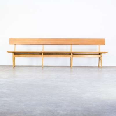 70s oak & birch long wooden bench