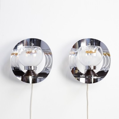 Pair of Murano glass wall lamps for Mazzega, 1960s
