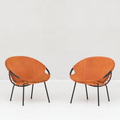 Set of two orange suede lounge chairs, Germany 1970s