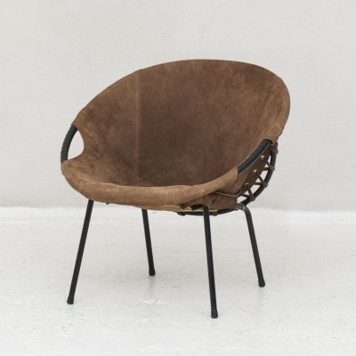 Brown suede lounge chair, Germany 1970s