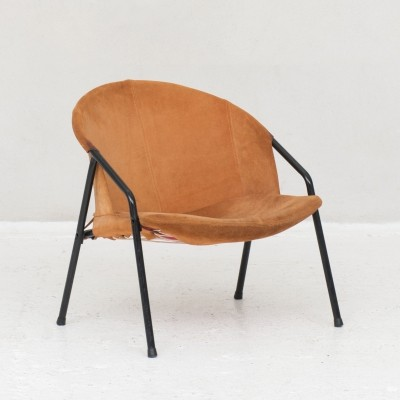 Orange suede lounge chair, Germany 1970s