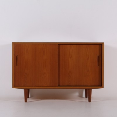 Small teak sideboard with sliding doors by Carlo Jensen for Poul Hundevad