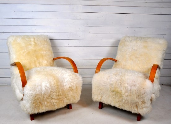 Pair of Lounge Chairs by Jindrich Halabala, 1930s