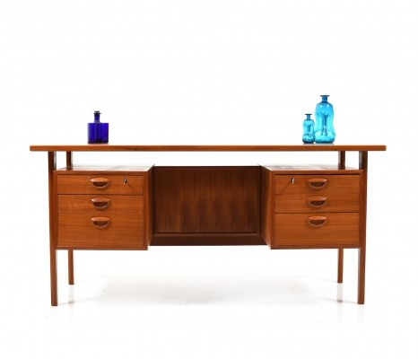 Freestanding Teak Desk by Kai Kristiansen, 1960s