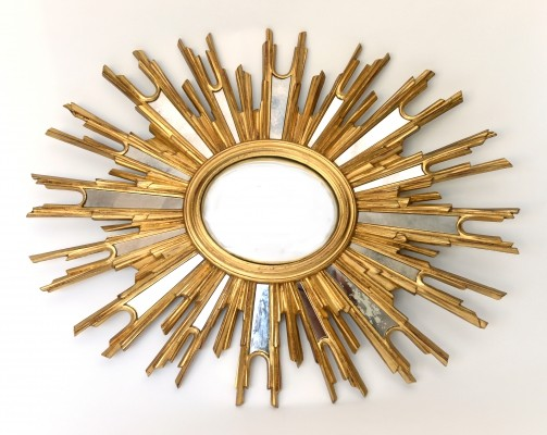 Very large mid century sunburst mirror, 1960s