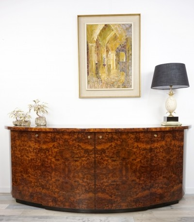 Art Deco Style Burl Wood & Brass Curved Sideboard by Jean Claude Mahey