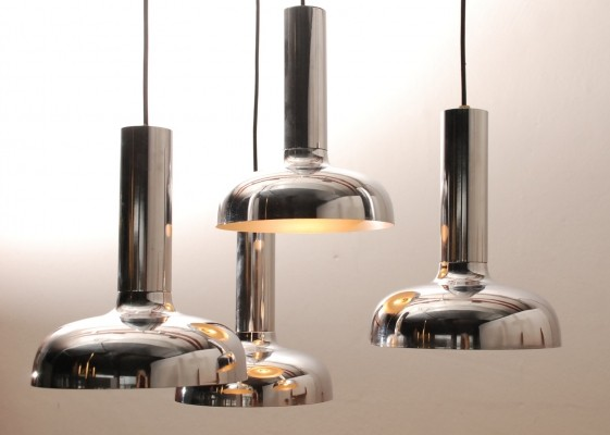 4-arms cascade pendant light with chromed shades