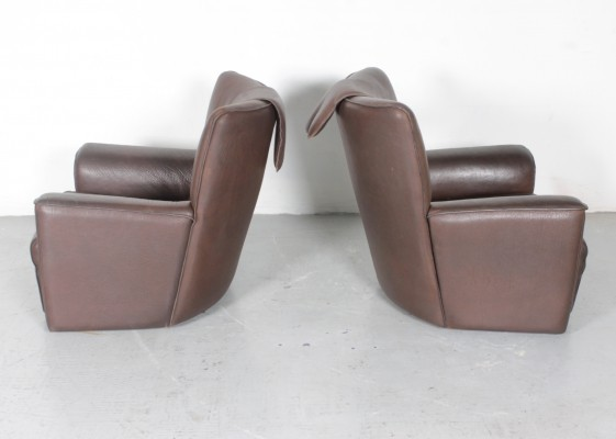 Pair of Heavy neckleather 'DS335' club chairs by Haussmann, 1970s