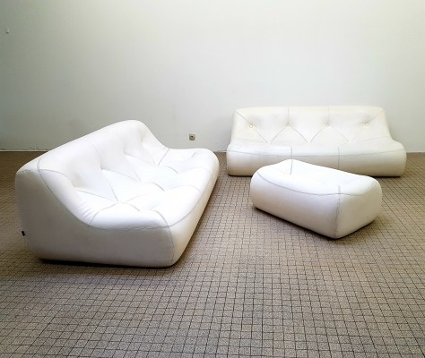 Vintage Ligne Roset 'Kali' seating group 2x3 seater + ottoman by Michel Ducaroy