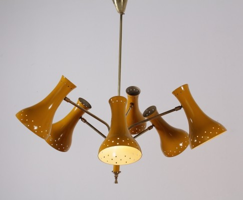 Yellow 6 articulated arms ceiling lamp
