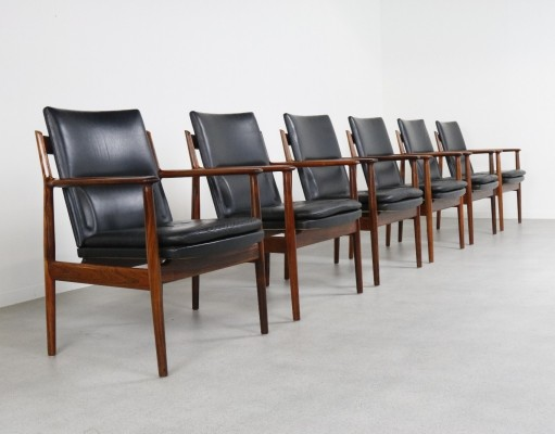 6 x 431 Rosewood arm chair by Arne Vodder for Sibast, 1960s