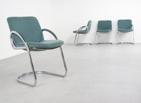 Set of 4 Cantilever dining chairs by Gastone Rinaldi for Rima, 1970s