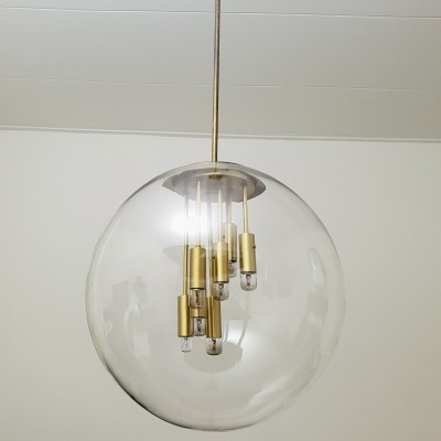 Large brass & glass globe chandelier by Doria Leuchten with 8 fittings